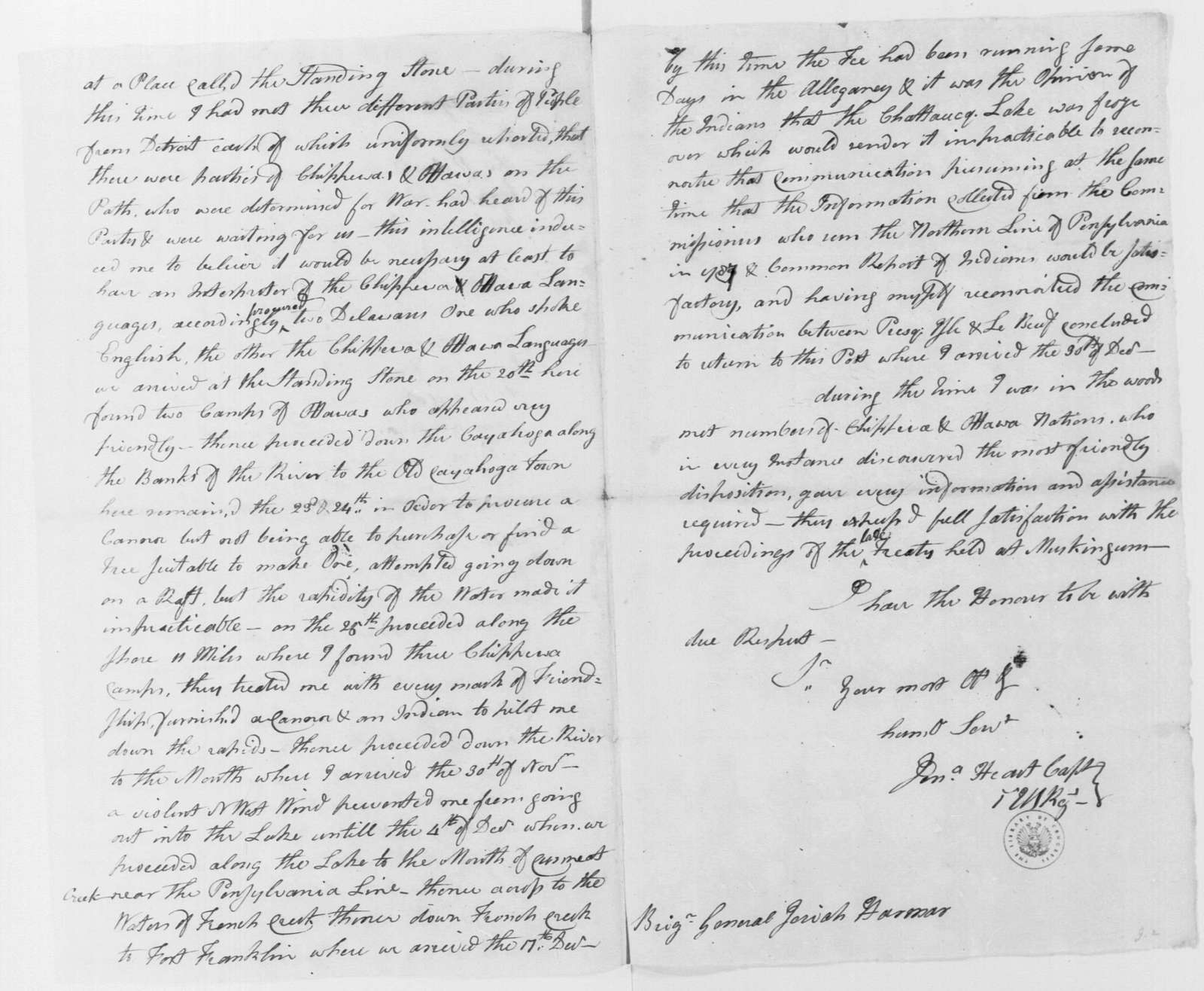 George Washington Papers, Series 4, General Correspondence: Jonathan Heart to Josiah Harmar, January 1791, Report, with Copy and Map of Lake Erie Region