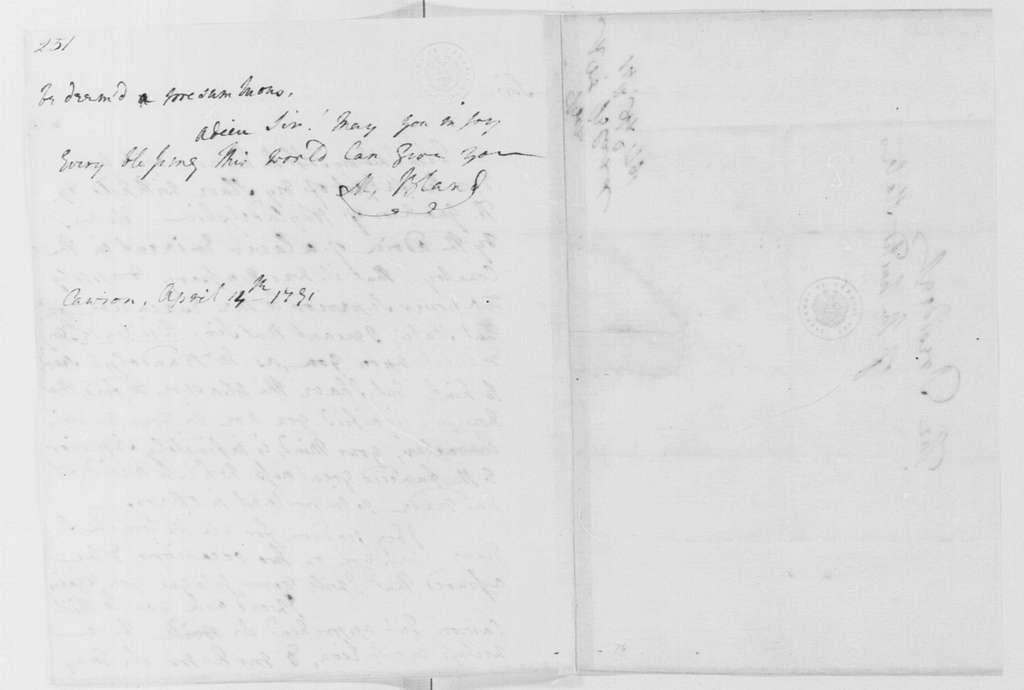 George Washington Papers, Series 4, General Correspondence: Martha D Bland to George Washington, April 14, 1791