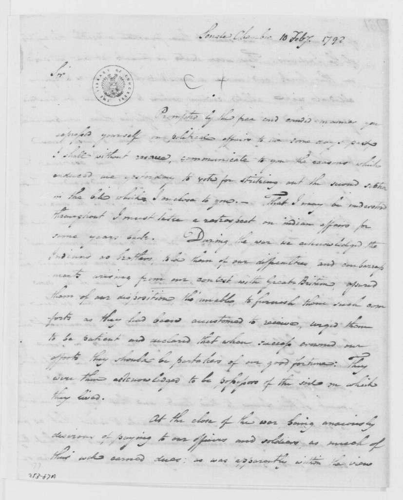 George Washington Papers, Series 4, General Correspondence: Benjamin Hawkins to George Washington, February 10, 1792