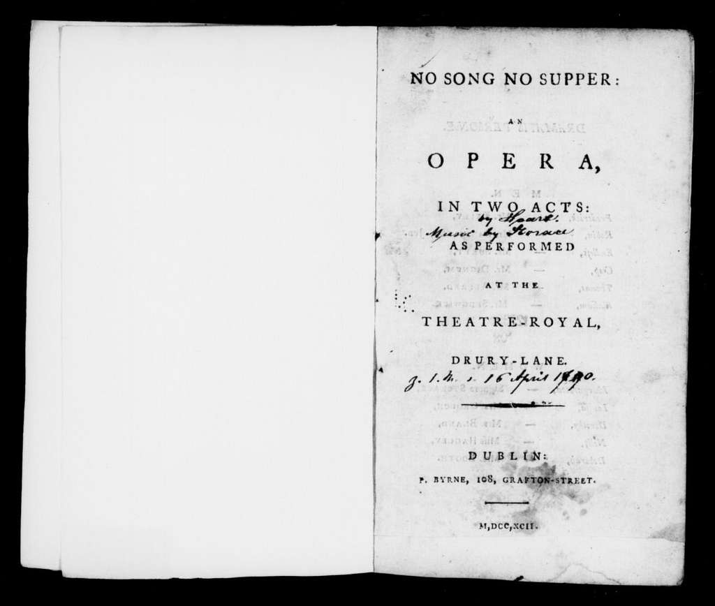 No song, no supper. Libretto. Libretto. English