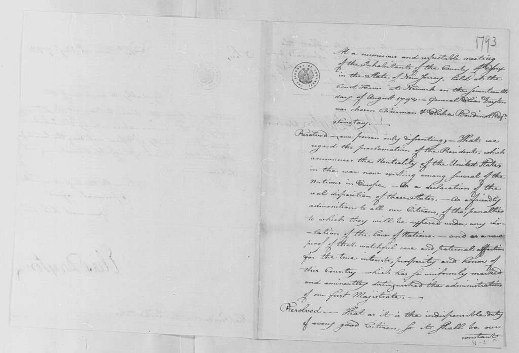 George Washington Papers, Series 4, General Correspondence: Essex County NJ Citizens to George Washington, August 20, 1793