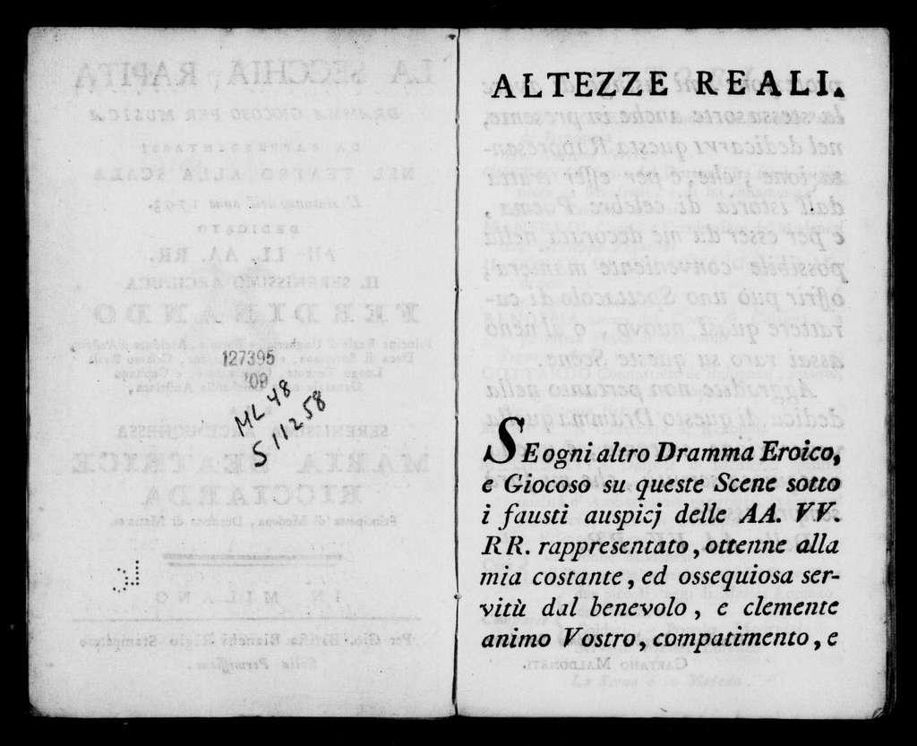 Zima (ballo eroico pantomimo). Scenario. Scenario. Italian. 1793