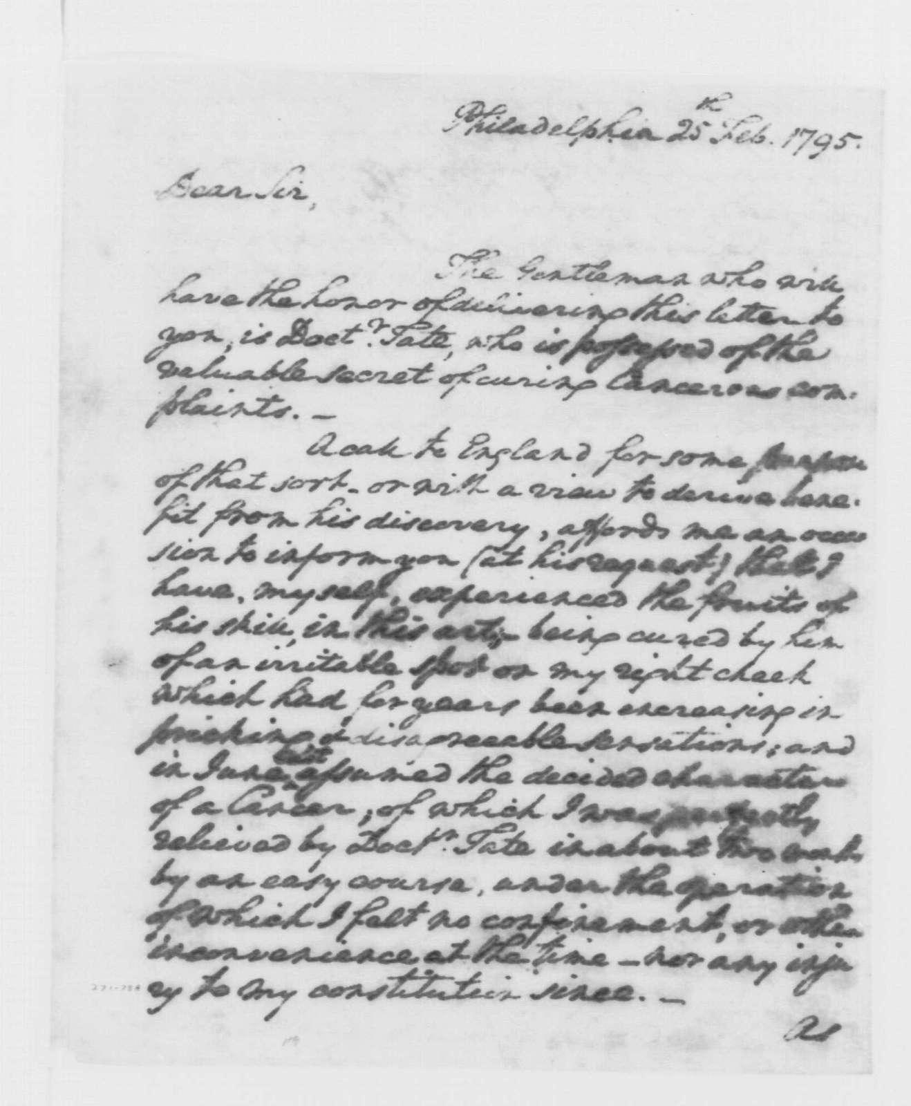 George Washington Papers, Series 4, General Correspondence: George Washington to Thomas Pinckney, February 25, 1795