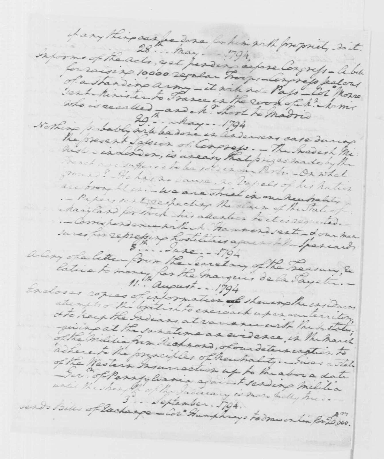 """George Washington Papers, Series 4, General Correspondence: George Washington to Thomas Pinckney, September 1795, """"Report of the letters which have been written to Maj. Pinckney since his Mission to G. B."""" (Great Britain)"""