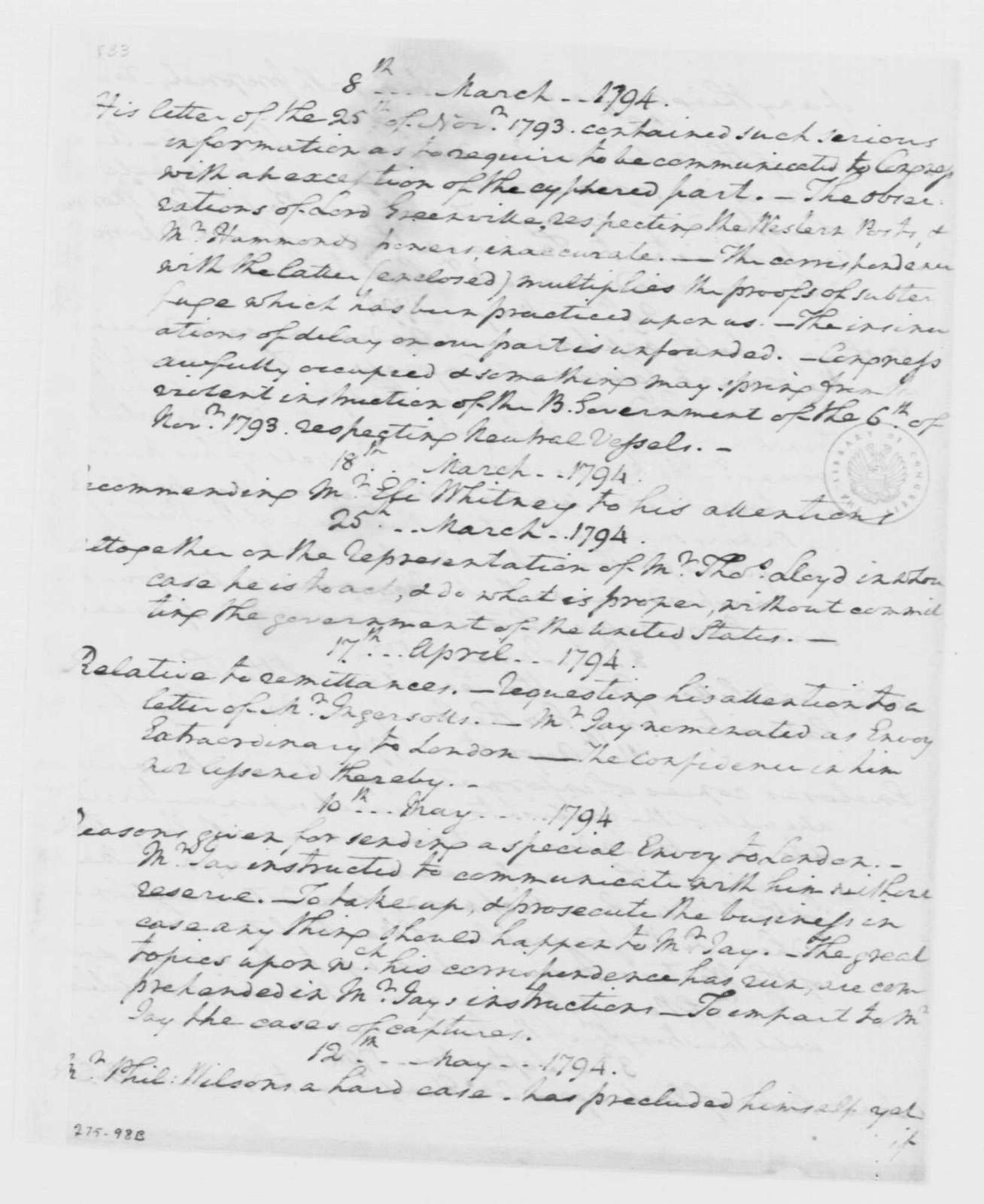 "George Washington Papers, Series 4, General Correspondence: George Washington to Thomas Pinckney, September 1795, ""Report of the letters which have been written to Maj. Pinckney since his Mission to G. B."" (Great Britain)"