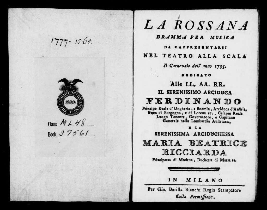 Pianella perduta (ballo). 1795