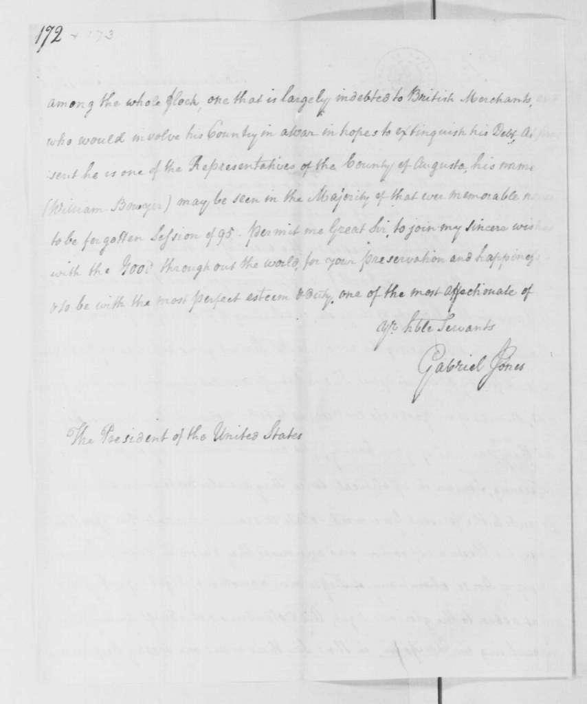 George Washington Papers, Series 4, General Correspondence: Gabriel Jones to George Washington, February 8, 1796