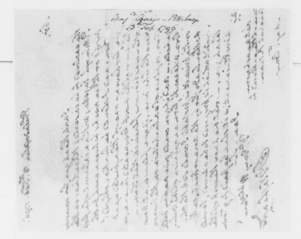 George Washington Papers, Series 4, General Correspondence: George Washington to Isaac Craig, February 13, 1796