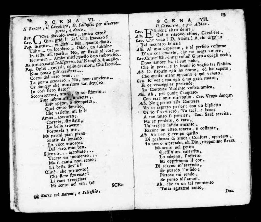 Accidenti della villa. Libretto. Italian