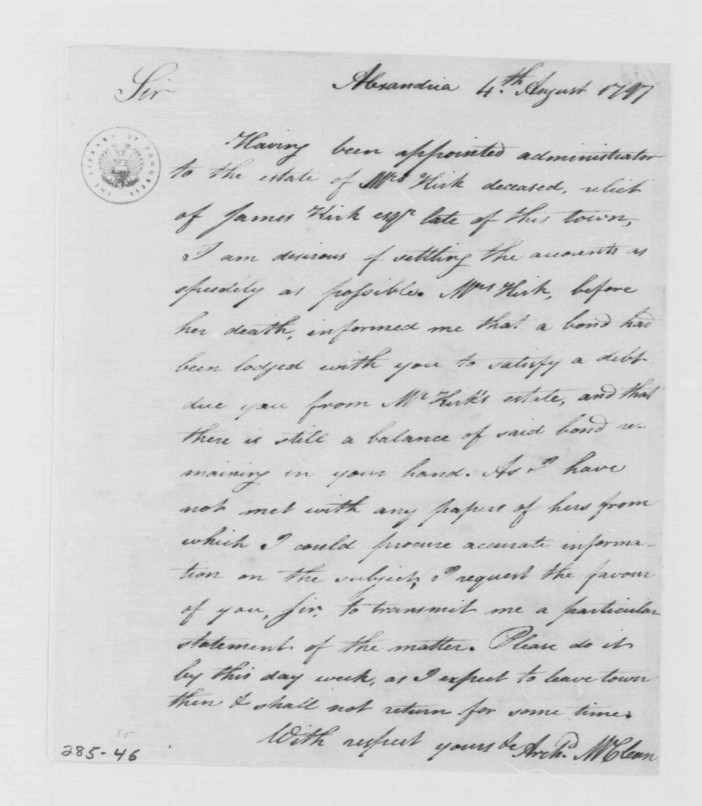 George Washington Papers, Series 4, General Correspondence: Archibald McClean to George Washington, August 4, 1797