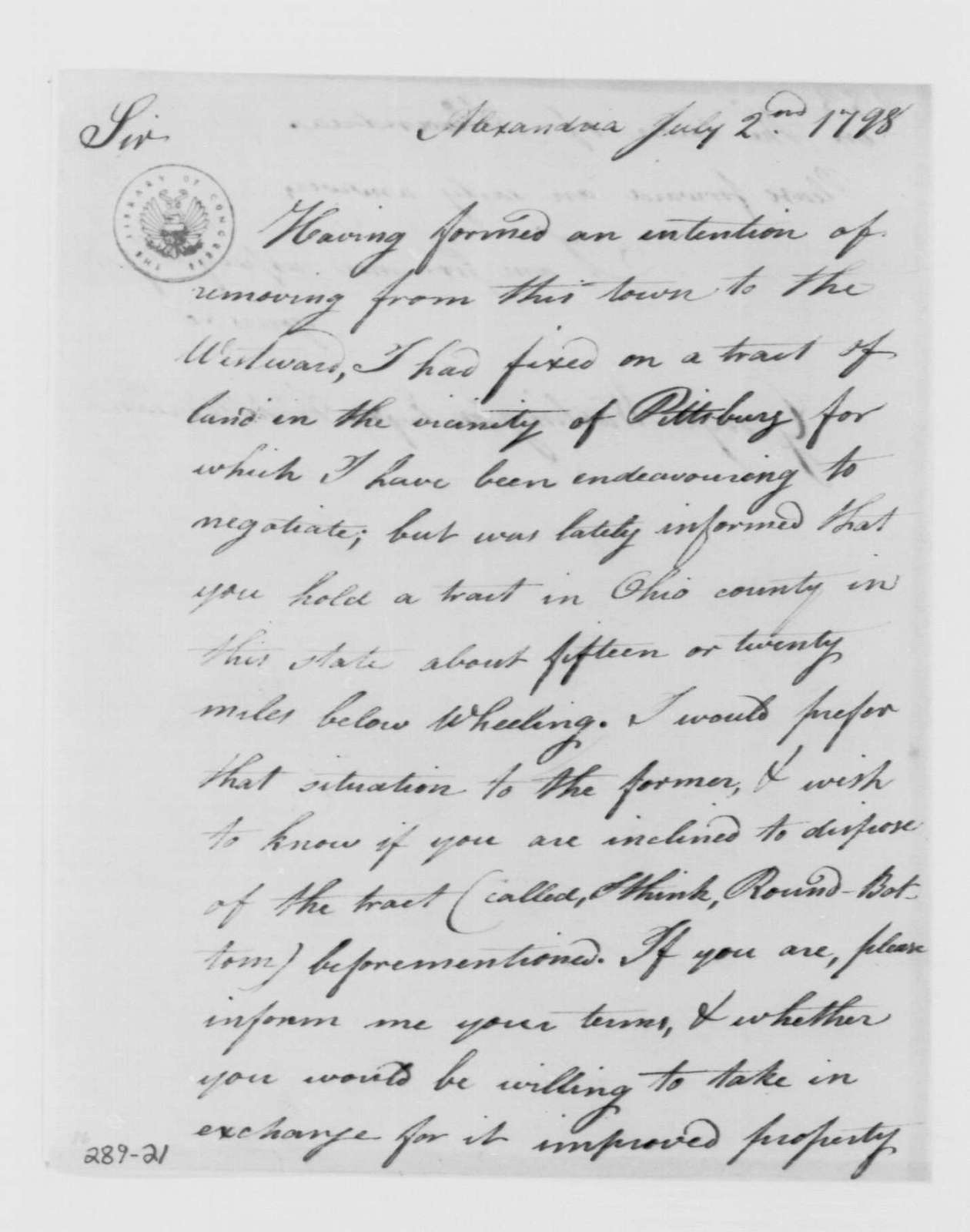 George Washington Papers, Series 4, General Correspondence: Archibald McClean to George Washington, July 2, 1798