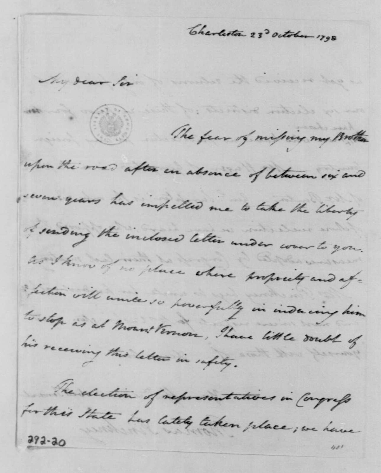 George Washington Papers, Series 4, General Correspondence: Thomas Pinckney to George Washington, October 23, 1798