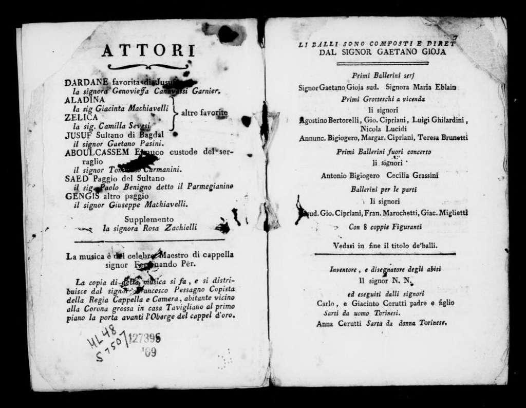 Intrigo amoroso. Libretto. Italian