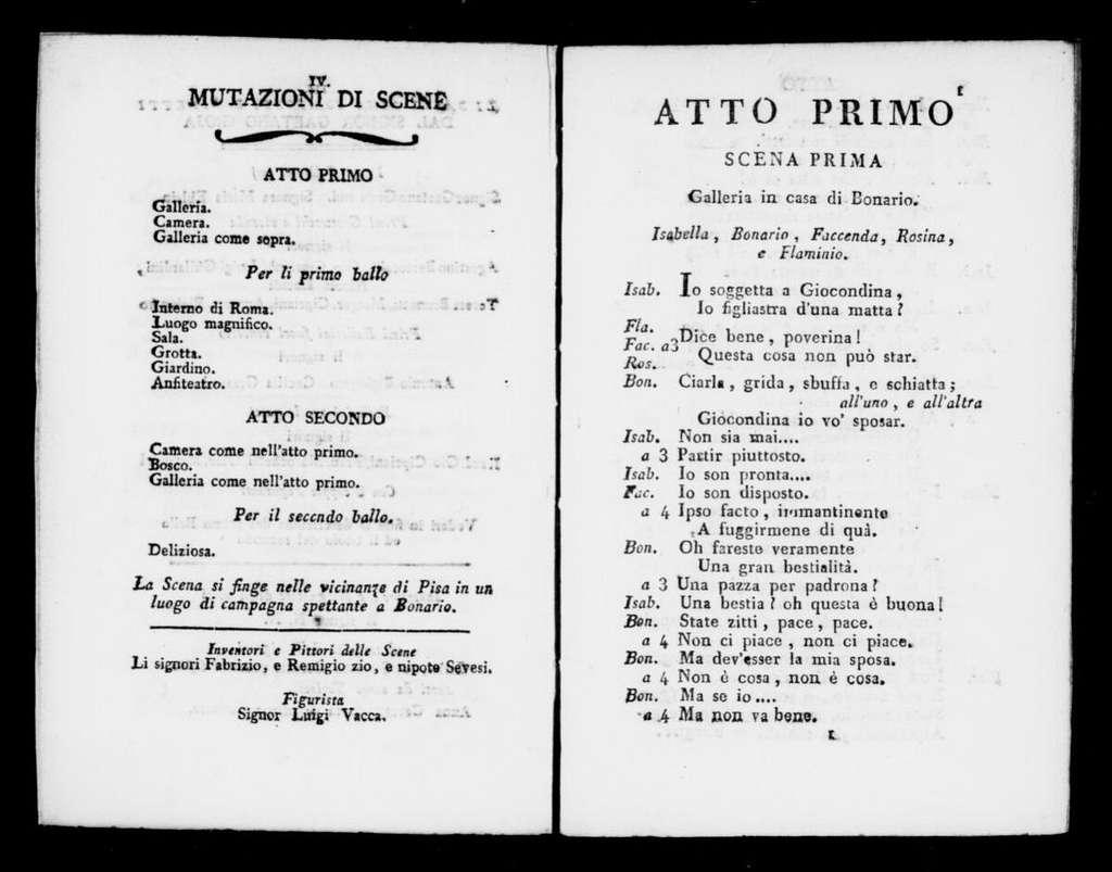 Sposa bisbetica. Libretto. Italian