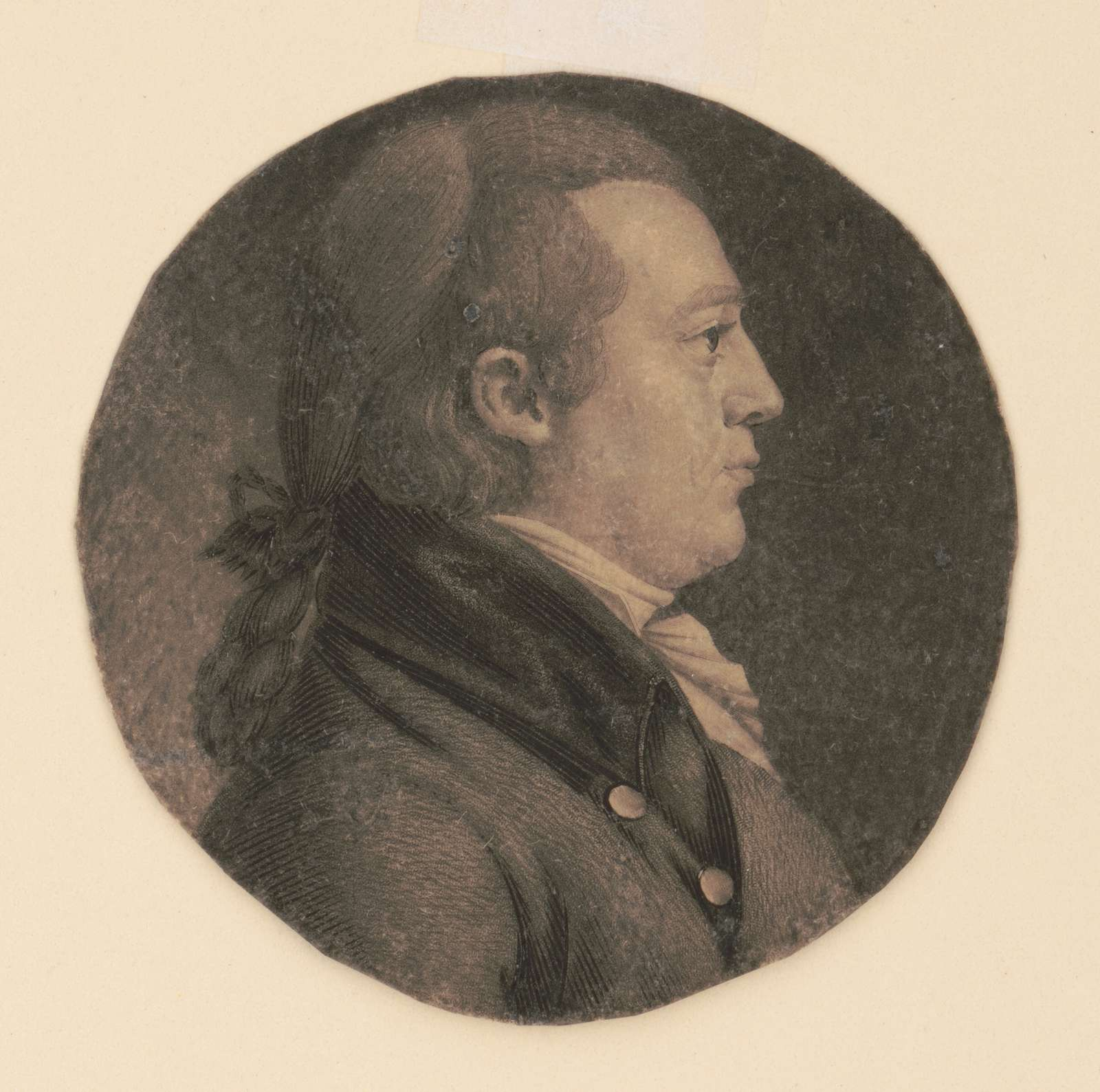 Unidentified man, head-and-shoulders portrait, right profile