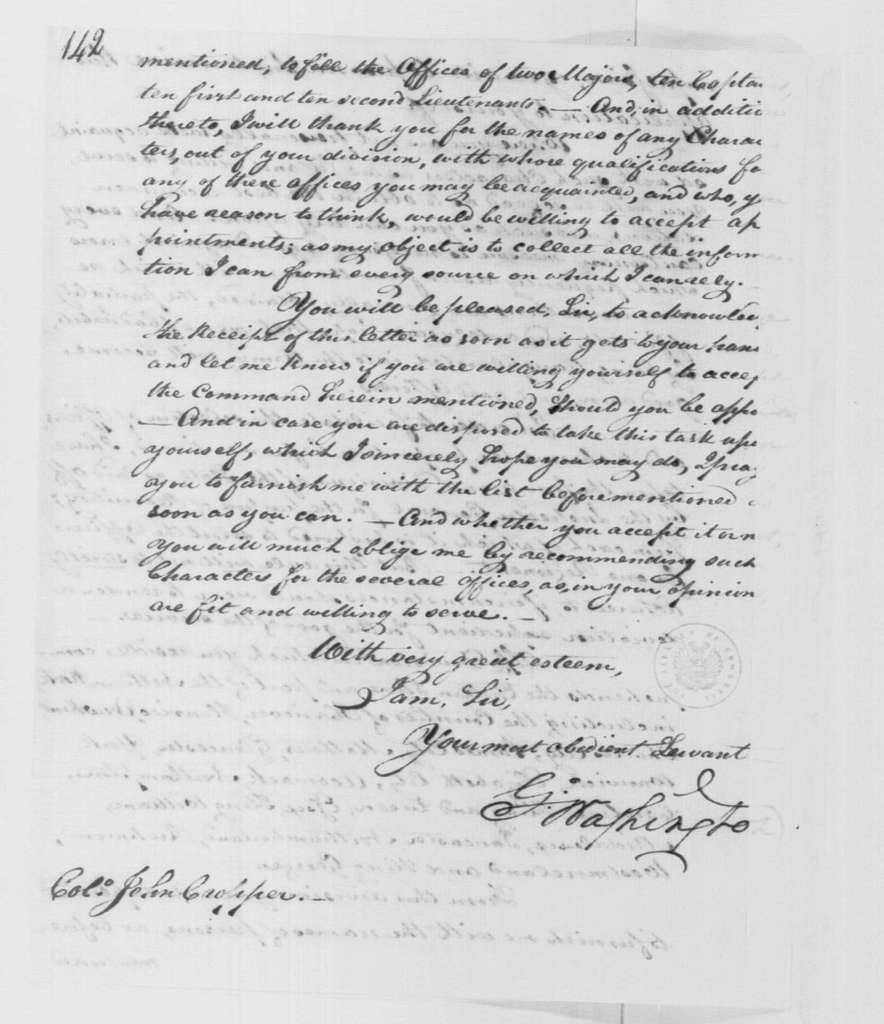 George Washington Papers, Series 4, General Correspondence: George Washington to John Cropper, June 6, 1799