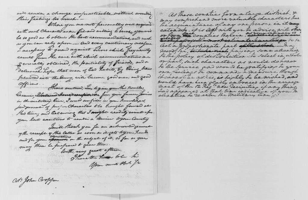 George Washington Papers, Series 4, General Correspondence: George Washington to John Cropper, June 17, 1799