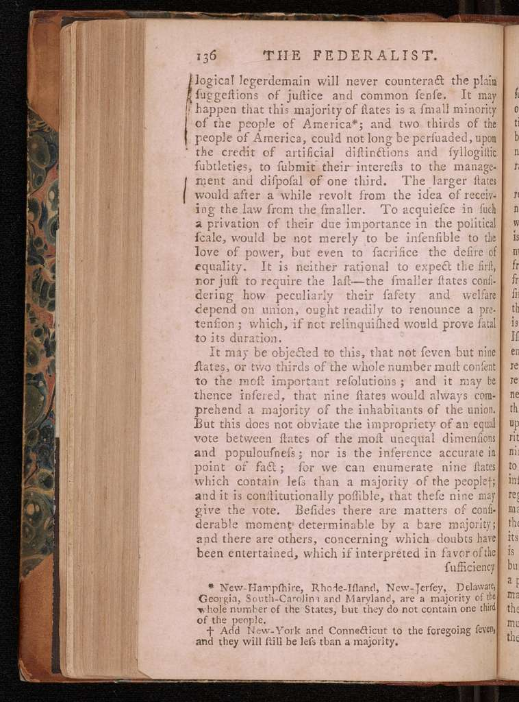 The Federalist : a collection of essays, written in favour of the new Constitution, as agreed upon by the Federal Convention, September 17, 1787 : in two volumes