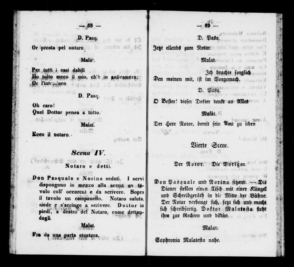 Don Pasquale. Libretto. German & Italian