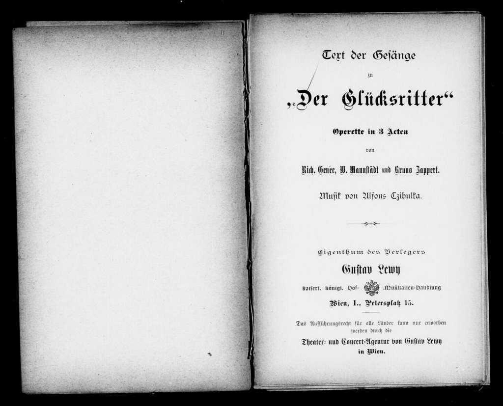 Glücksritter. Libretto. German