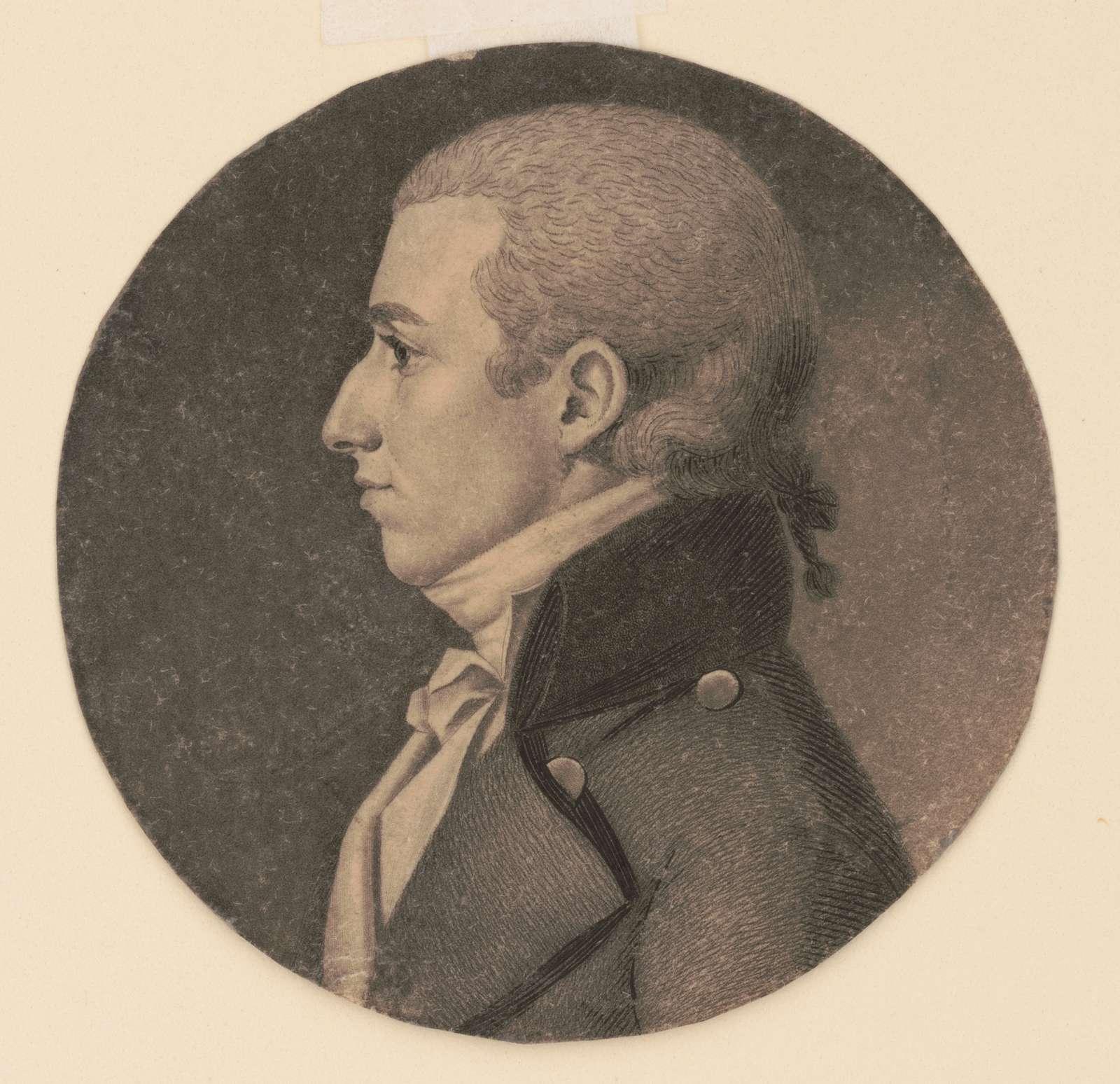 John Cuthbert, head-and-shoulders portrait, left profile