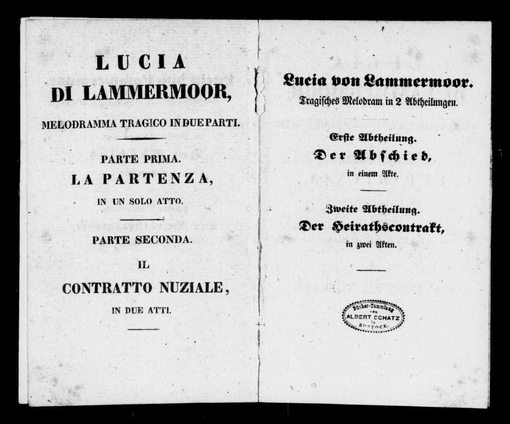 Lucia di Lammermoor. Libretto. German & Italian