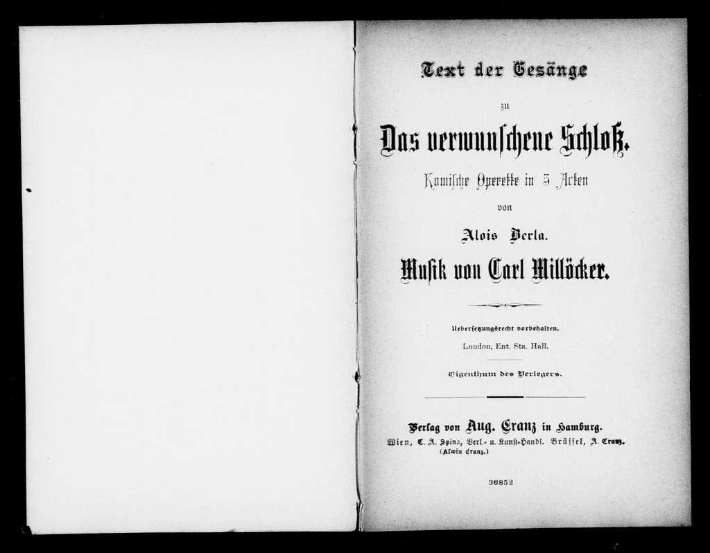 Verwunschene Schloss. Libretto. German