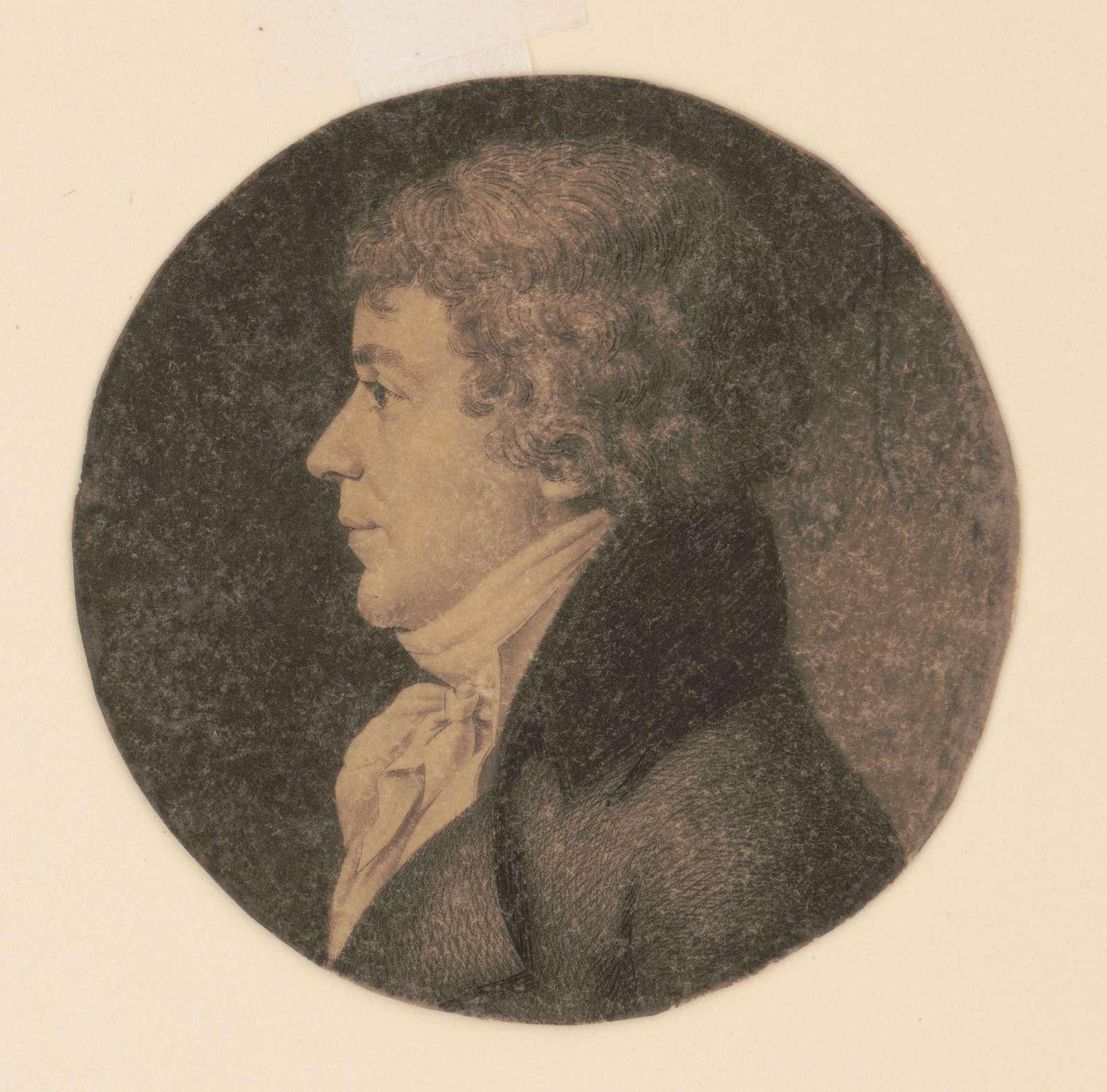 John Simon Chaudron, head-and-shoulders portrait, left profile