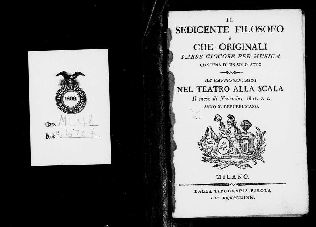 Sedicente filosofo. Libretto. Italian