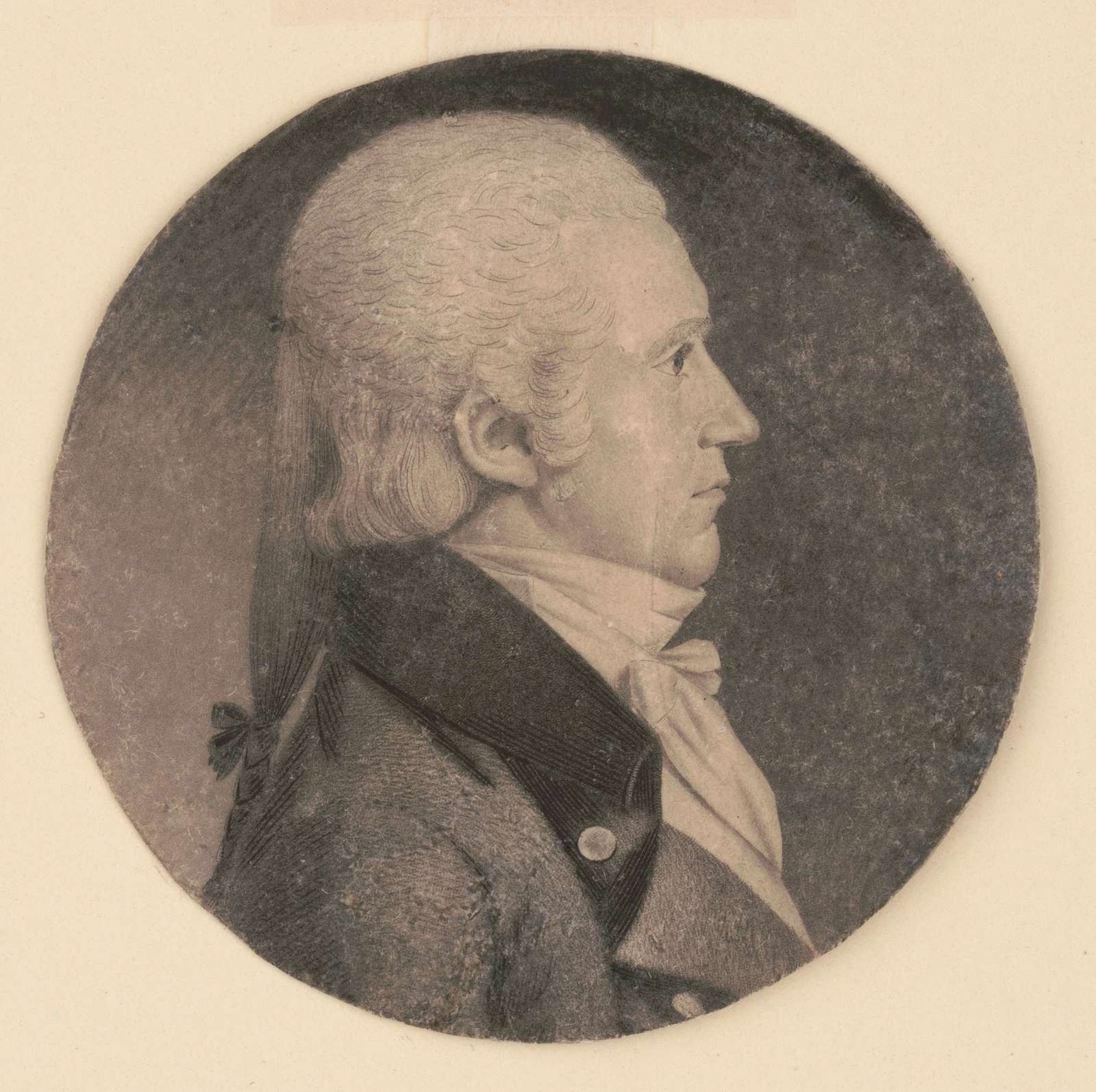 P. Morell, head-and-shoulders portrait, right profile