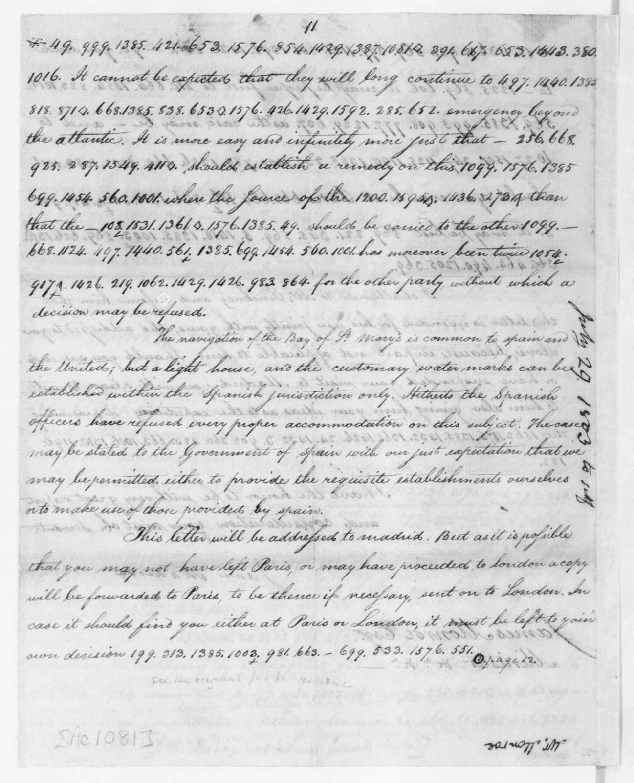 James Madison to James Monroe, July 29, 1803. partly in cipher