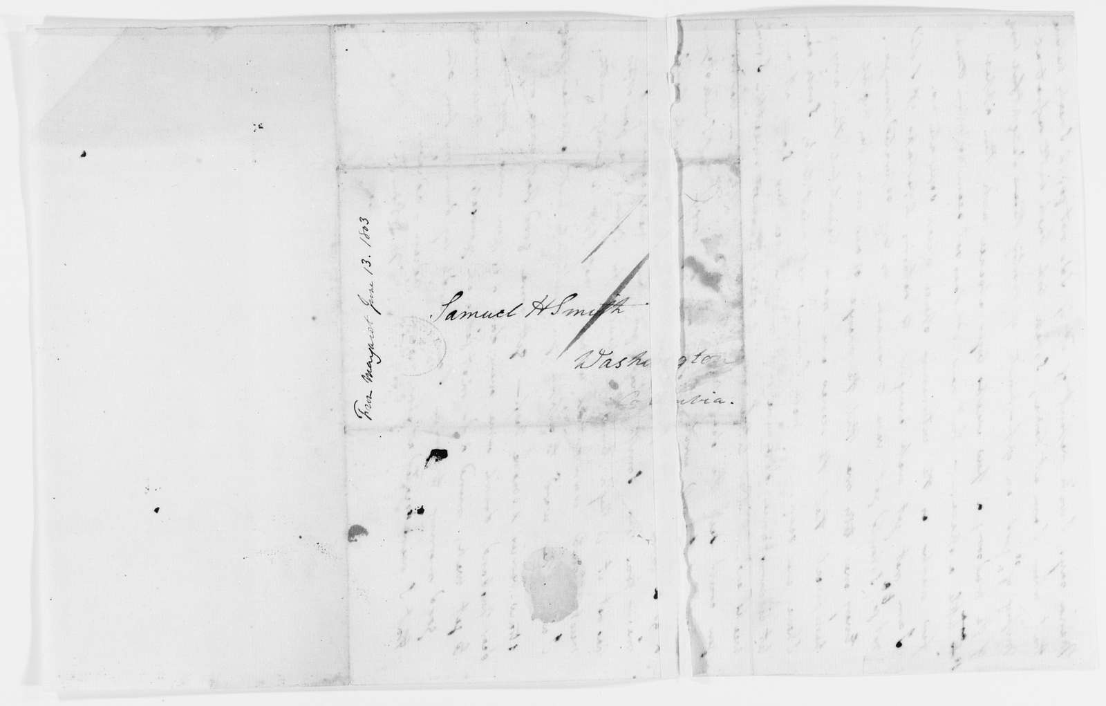 Margaret Bayard Smith Papers: Family Correspondence, 1789-1842; Smith, Samuel Harrison (husband); 1803, June-Sept