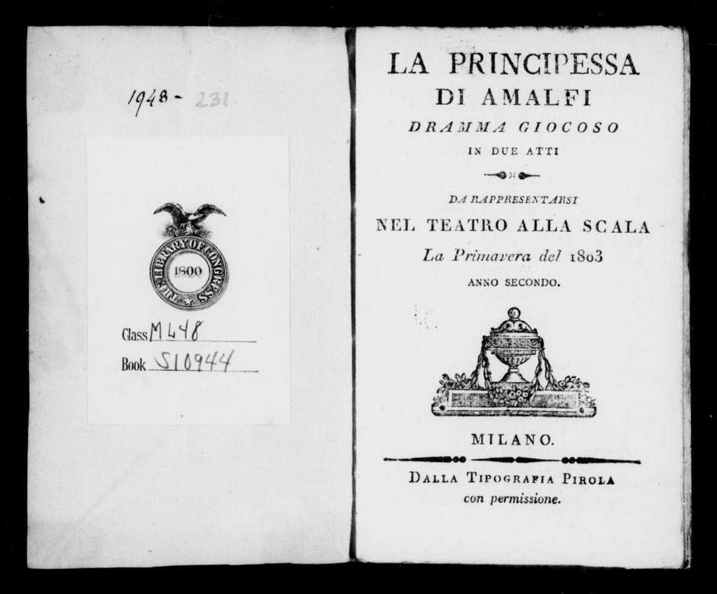 Principessa d'Amalfi. Libretto. Italian