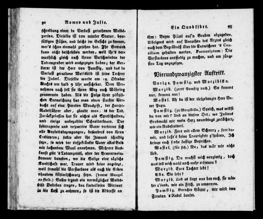 Romeo und Julie. Libretto. German
