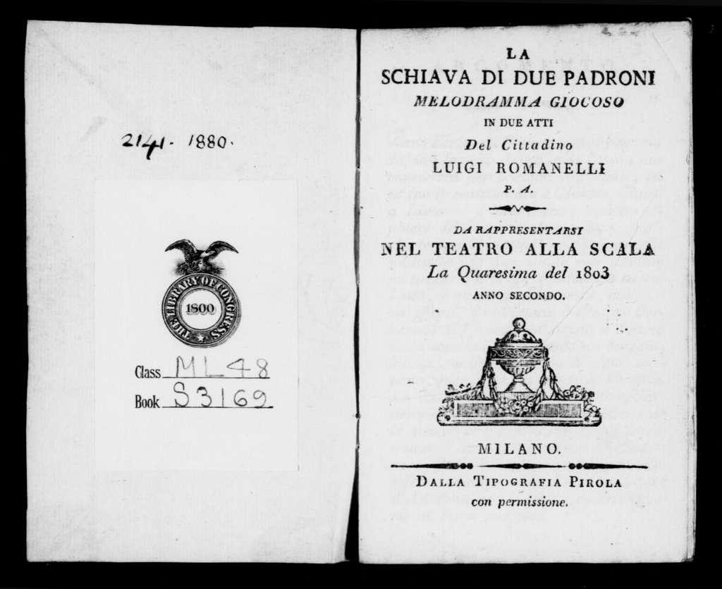 Selimo e Zulmira (ballo tragico pantomimo). 1803
