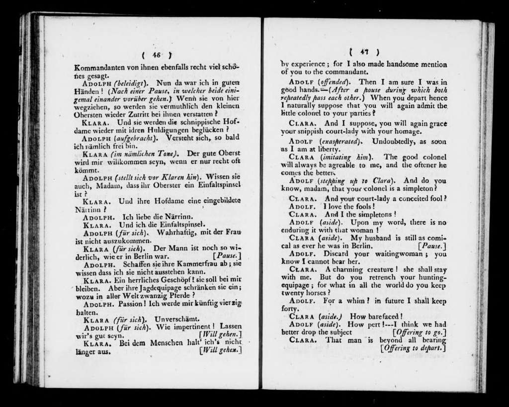 Adolphe et Clara. Libretto. Libretto. English & German
