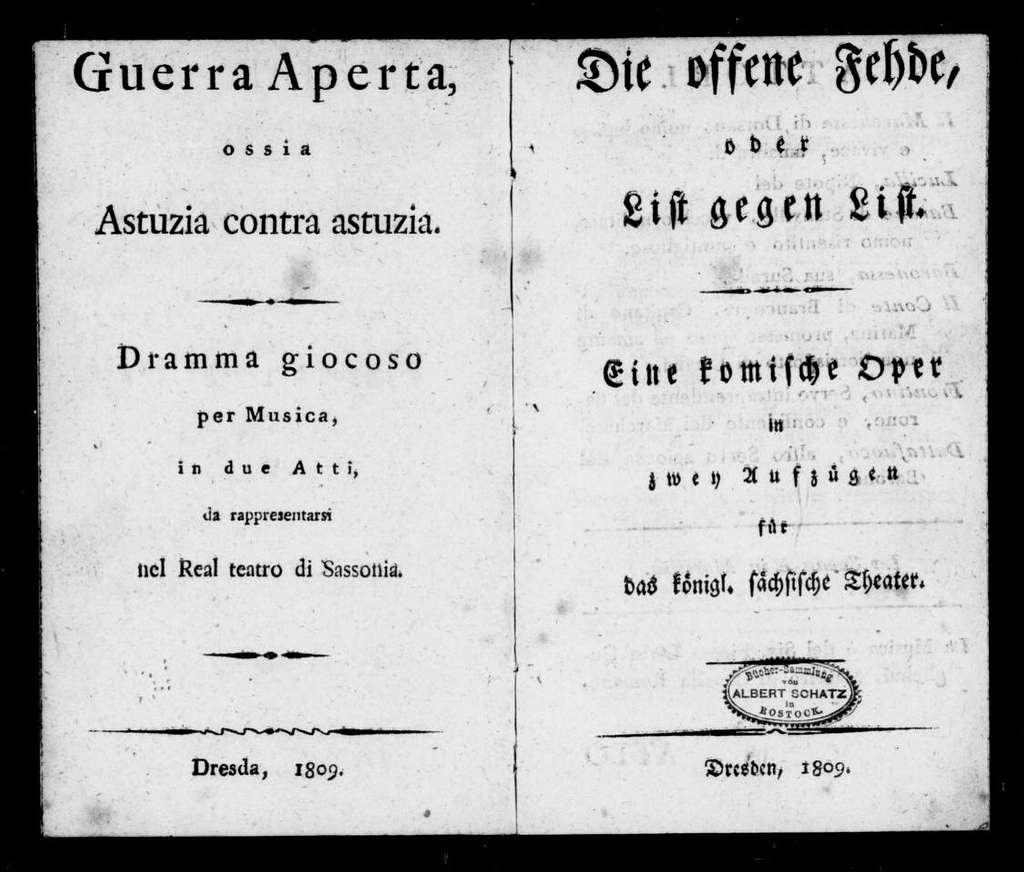 Guerra aperta. Libretto. German & Italian