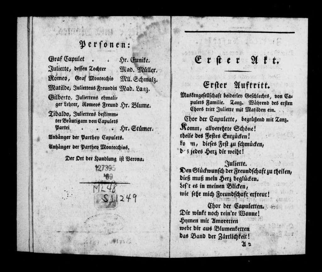Giulietta e Romeo. Libretto. German