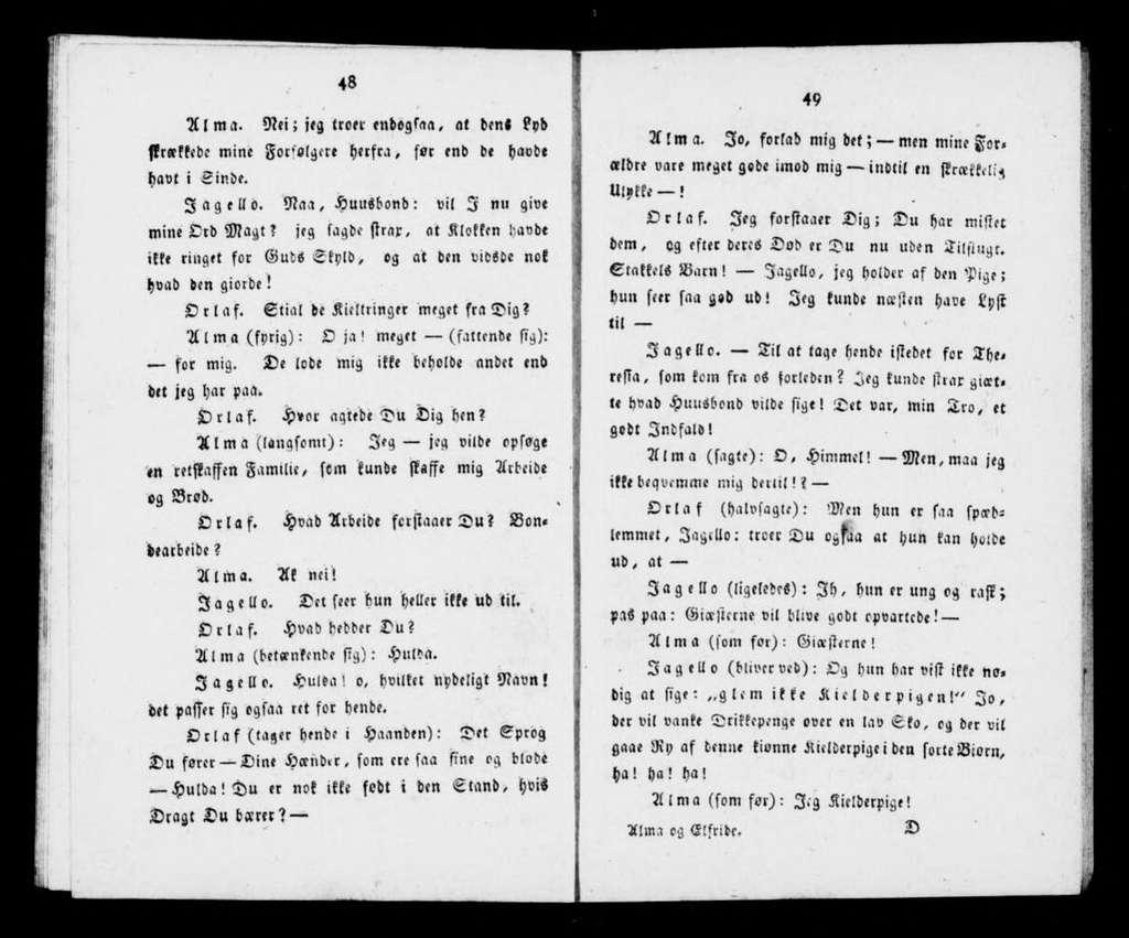 Alma og Elfride, eller, Skoven ved hermanstad syngestykke i tre acter med tithørende dands