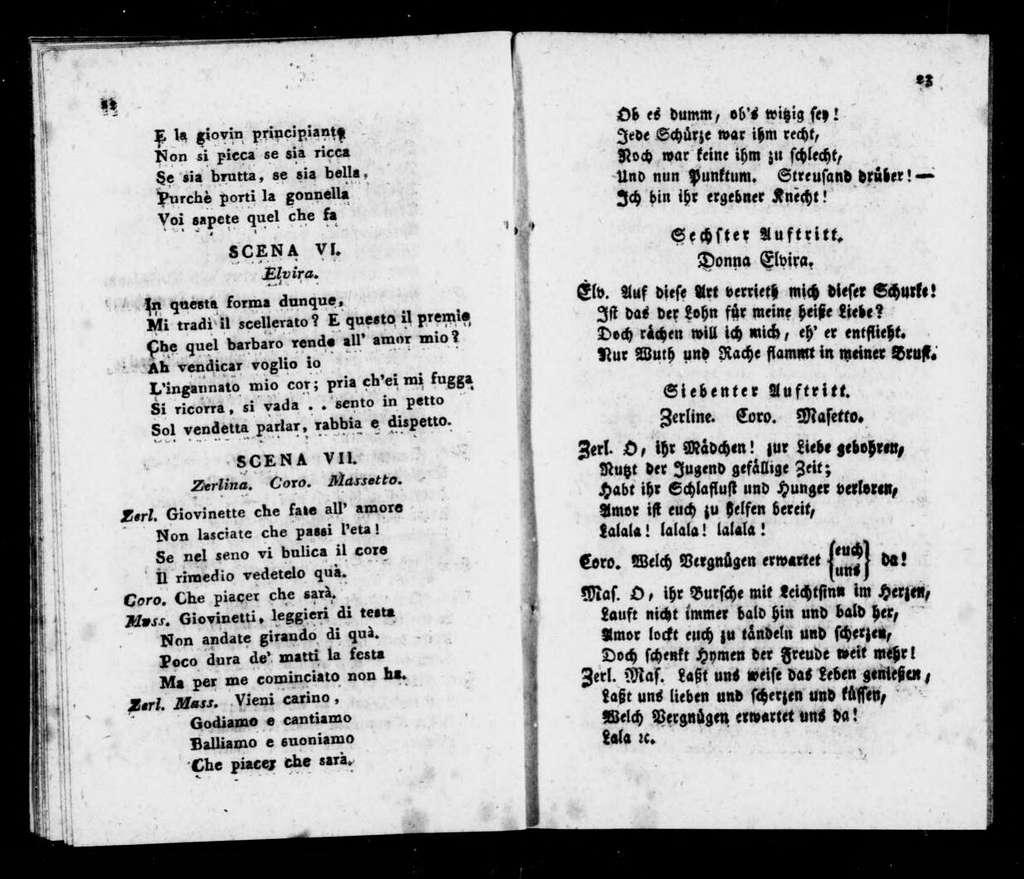 Don Giovanni. Libretto. German &Italien