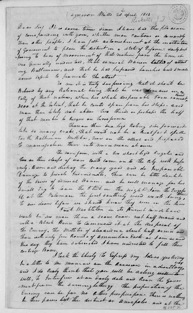 Jonathan Thomas Ricketts to John Mason, April 20, 1813