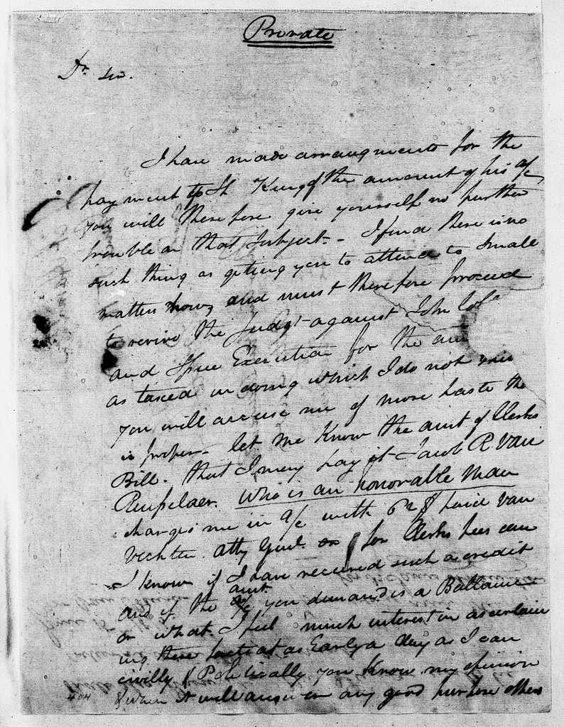 Martin Van Buren Papers: Series 2, General Correspondence, 1787-1868; 1815; 1815, June 15 - Dec. 31