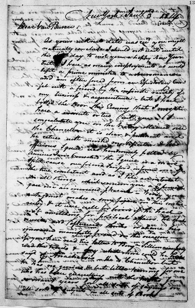 Martin Van Buren Papers: Series 2, General Correspondence, 1787-1868; 1815; 1815, Jan. 1 - June 14