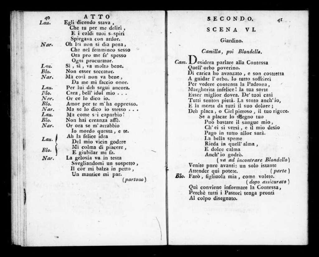 Blondello. Libretto. Italian