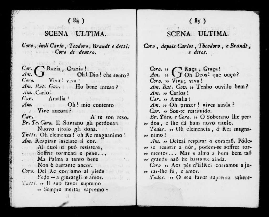 Federico II re di Prussia. Libretto. Portuguese & Italian