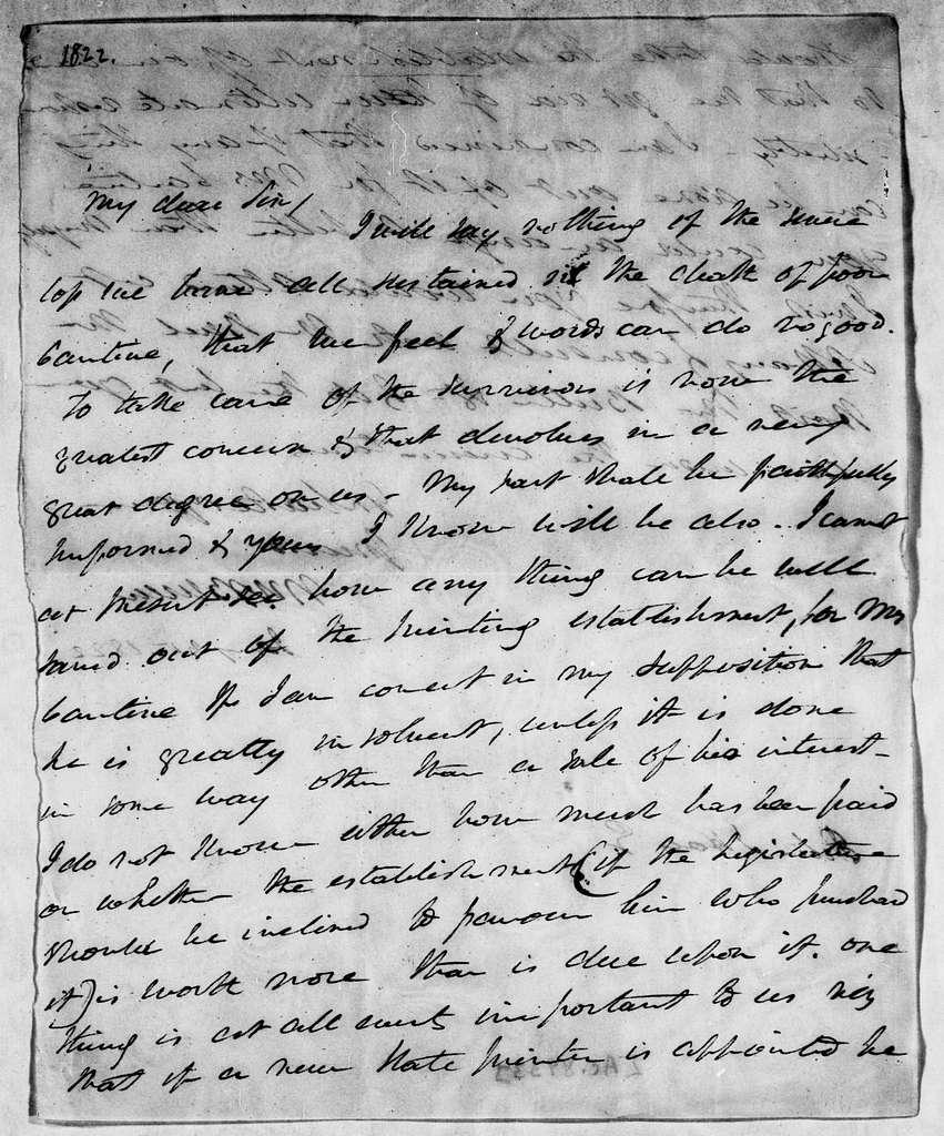 Martin Van Buren Papers: Series 3, Additional Correspondence, 1811-1853; Originals; 1822
