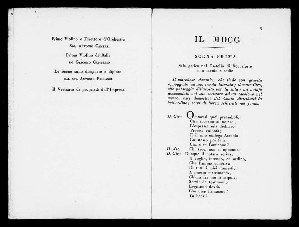 Millesettecento e il milleottocento. Libretto. Italian