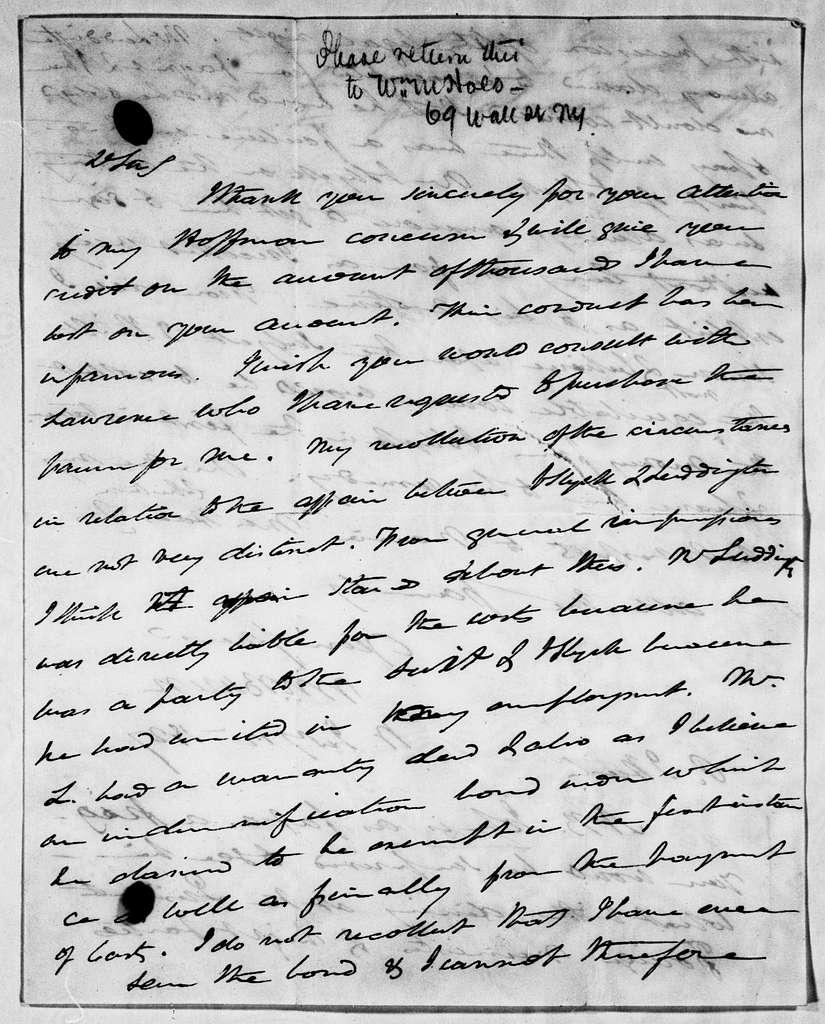 Martin Van Buren Papers: Series 3, Additional Correspondence, 1811-1853; Originals; 1827