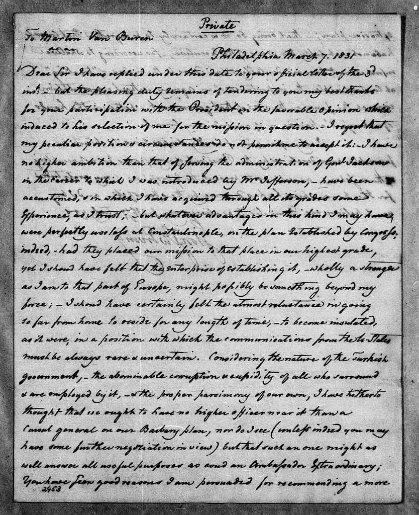 Martin Van Buren Papers: Series 2, General Correspondence, 1787-1868; 1831; 1831, Mar. 7 - Sept. 21