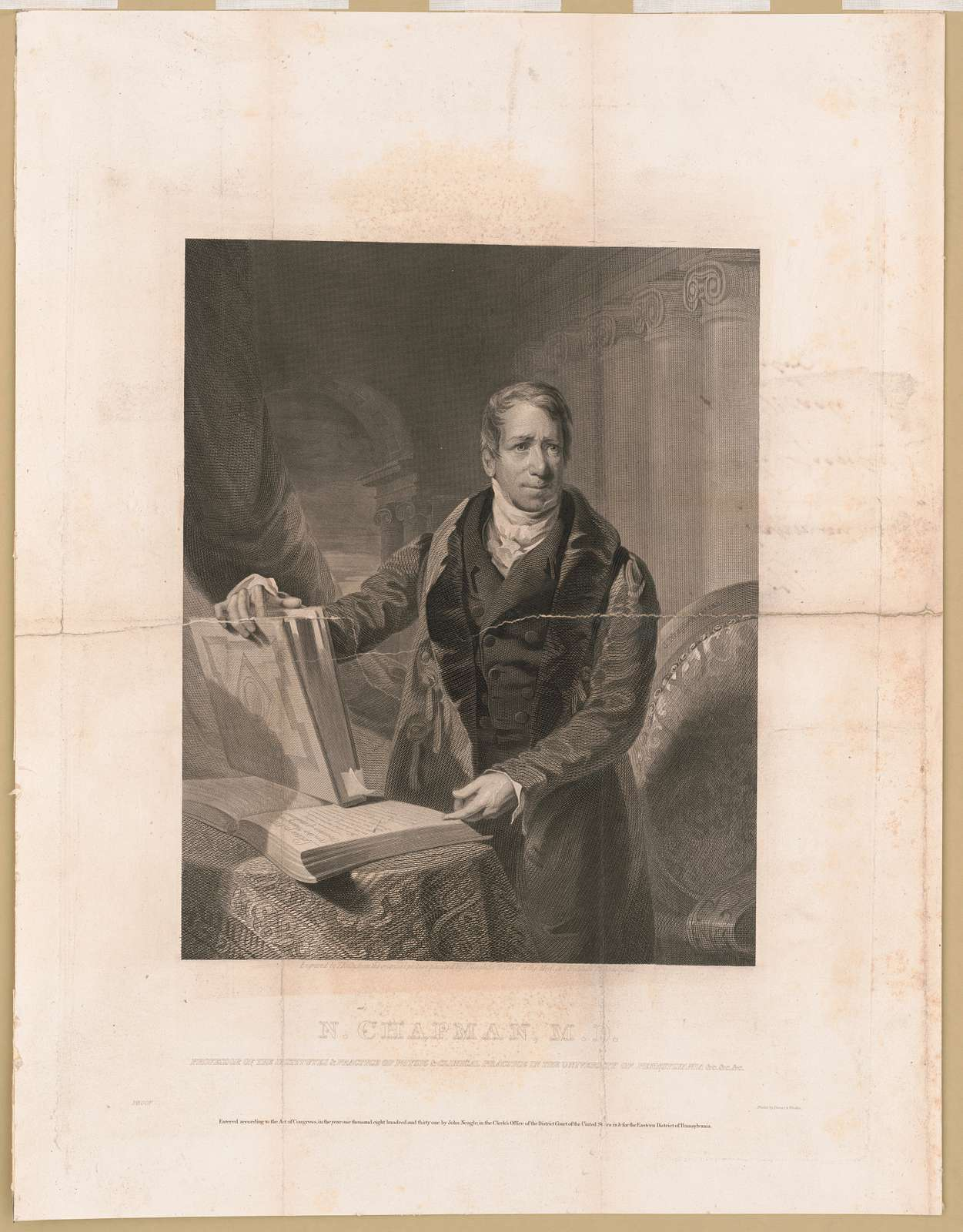 N. Chapman, M.D. J. Neagle pinxt 1830 ; engraved by T. Kelly from the original picture painted by J. Neagle for the Hall of the Medical Institute Philadelphia